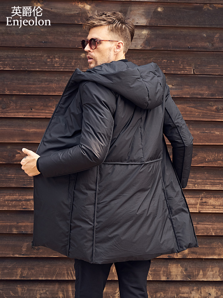 Enjeolon брендовые утолщенные Зимние толстовки с капюшоном Длинная пуховая куртка мужская легкая кофта парка куртка мужская черная пуховая Ку...