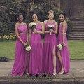 2017 Fuchsia Long Bridesmaid Dresses Sexy Side Split Plus Size A-Line Purple Wedding Bridesmaid Party Dress Vestido madrinha