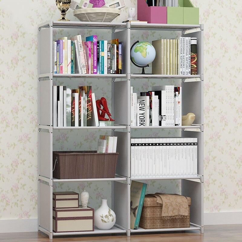 Double rows multi purpose book shelf student simple for Diy basic bookshelf