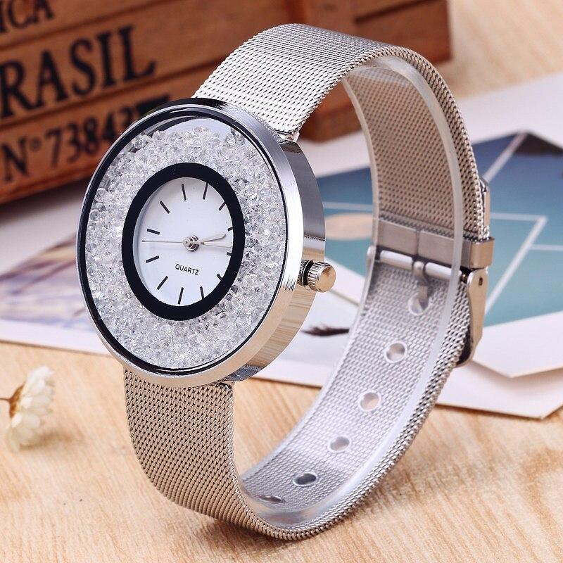Ladies Silver Stainless Steel Quartz Watch PINBO Luxury Gold Diamond Women Watches Brand Dress Wristwatch Relogio Clock Women