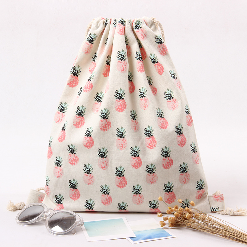 Triple Stone Pineapple Printing Women's Cotton Canvas Drawstring ...
