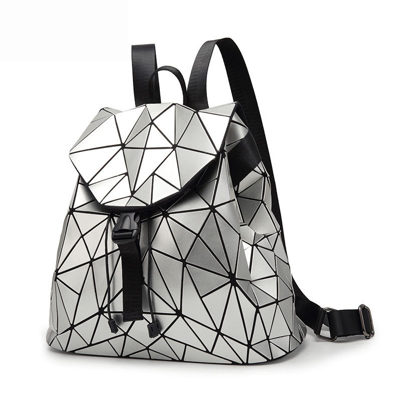 Mochila Masculina Laser-Backpack School-Bag Geometric Hologram Luminous Women Student's