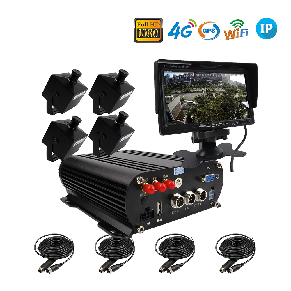 Free Shipping 4CH WIFI GPS 4G 1080P 2TB HDD IP Car NVR Video Recorder Phone Remote Monitor Mini 140 View 1080P IP Car Camera free shipping g sensor h 264 hdd 4ch 720p ahd car dvr video recorder metal rear side front view car camera system car monitor