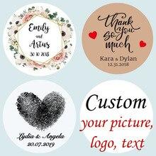 100 шт, персонализированные, свадебные наклейки, сувениры наклейки на ящики, день рождения, логотип, фото, бирки, на заказ, Крафт, прозрачный/прозрачный