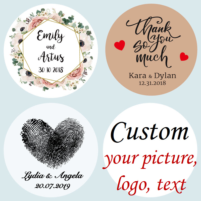 100 pcs, Personalized, Wedding Stickers, Favors Boxes Labels, Logo, Photo, Custom Stickers, Kraft, Clear/Transparent(China)