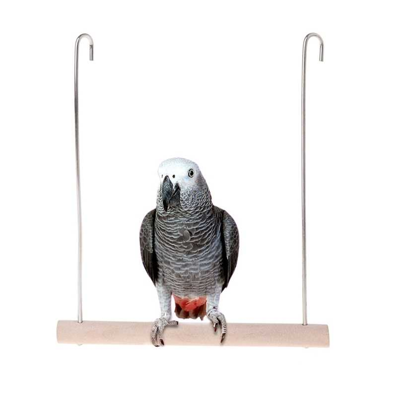 Natural Wooden Birds Perch Parrots bridge Hanging Swing Cage Pendant Toys Stand Holder