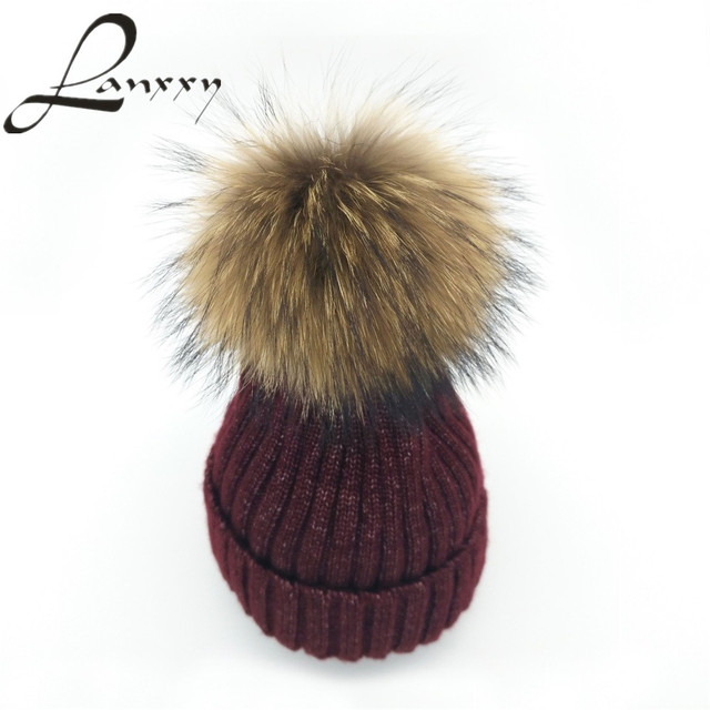 e5c27b2c4fb Lanxxy 2016 New Fashion Silver Mix Knitted Wool Cotton Hat Real Mink Fur  Pompom Hat Girls