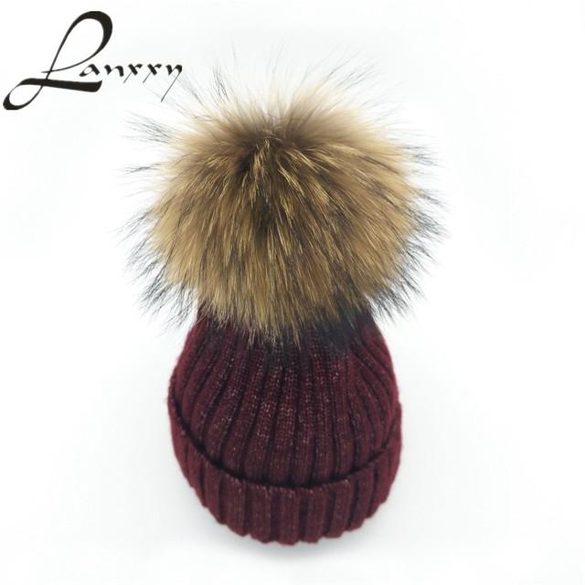Lanxxy Prata 2016 Nova Moda Mistura de Lã De Malha de Algodão Chapéu Real Pompom de Pele De vison Chapéu Meninas Inverno Caps Gorros Skullies Pom Poms