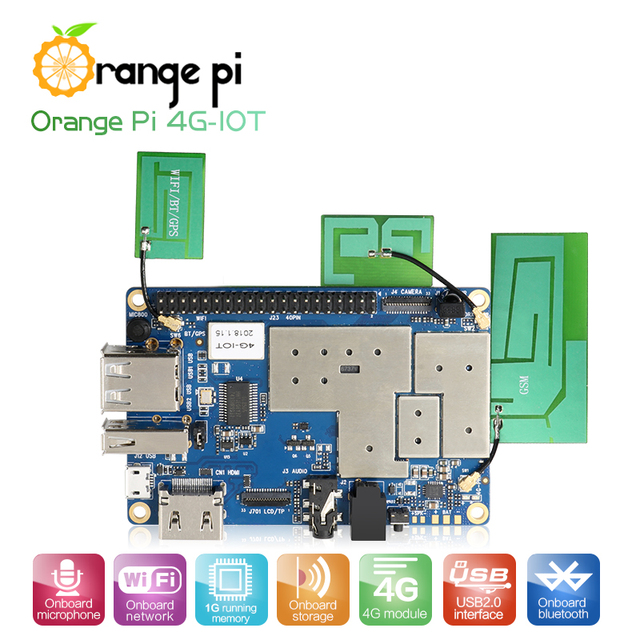 Orange Pi 4G-IOT 1G Cortex-A53 8 GB EMMC prend en charge 4G carte SIM Bluetooth Android6.0 mini PC