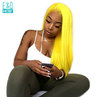 Yellow Color Human Hair Wigs 8 24 Inch Pre Plucked Chinese Remy Hair Full Lace Human Hair Wig With Baby Hair Bleached Knots