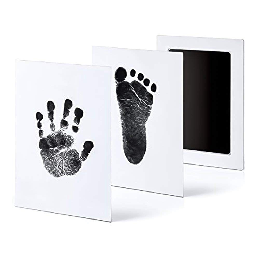 6Pack Handprint And Footprint Ink Pads Without Ink-Touch,Safe Print Kit For Baby And Pets 3 Large Ink Pads+6 Imprint Cards,Black