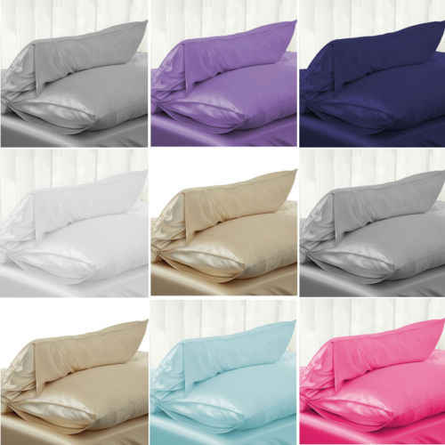 NEW Solid Queen Standard Silk Satin Pillow Case Bedding Pillowcase Smooth Home