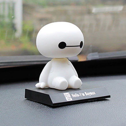 2019 NEW Big Hero 6 Baymax Toy Model Dolls Figma 10cm Lovely Cute Automobile Head Shaking Bobble Head Action Figure Gift