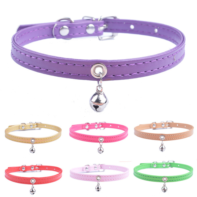 Puppy Collar For Small Dogs Adjustable Pet Collars With Bell For Small Medium Cats Size XXS XS S Purple Black White Pink