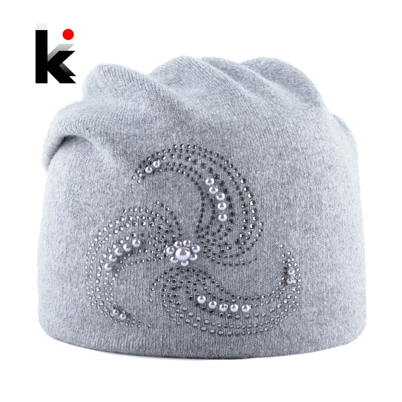 Winter Knitted   Beanie   Hats For Women Pearls Rhinestone Flower Knitting Wool Bonnet Caps Ladies Soft Warm Angora   Skullies     Beanies