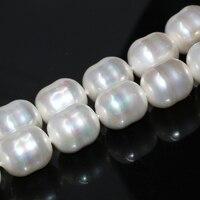 Diseño único de alta calidad blanco natural perla shell12 * 15mm perlas sueltas irregular aprox barril joyería 15 pulgadas B2274