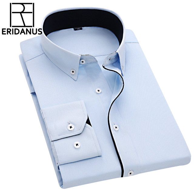 Men Dress Shirts 2016 New Arrival Male Fashion Designer Long Sleeve Slim Fit High Quality Solid Formal Business Shirt 4XL M005