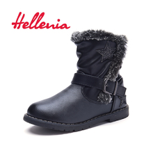 Hellenia Spring Toddler kids boots girls PU Shoes breathable mesh lining Children Mid Calf Boot boys Brand Black size 24-29