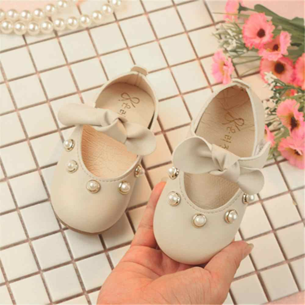 Infant Kids Baby Girls Elegant Bowknot Pearl Single Princess Casual Shoes  Toddler Girls Shoes For Girls  Leather Shoes 2019