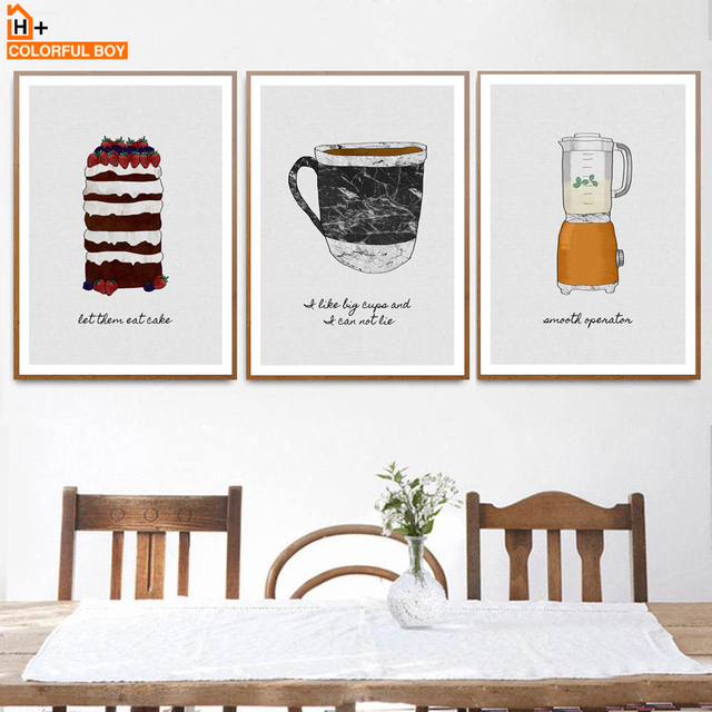COLORFULBOY Cake Cup Tableware Food Print Wall Art Canvas Painting Nordic Poster Pictures Dining Room