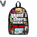 2017 3D printing GTA5 theme series perfect gift backpack, Grand Theft Auto 5 party games, children and youth pink favourite