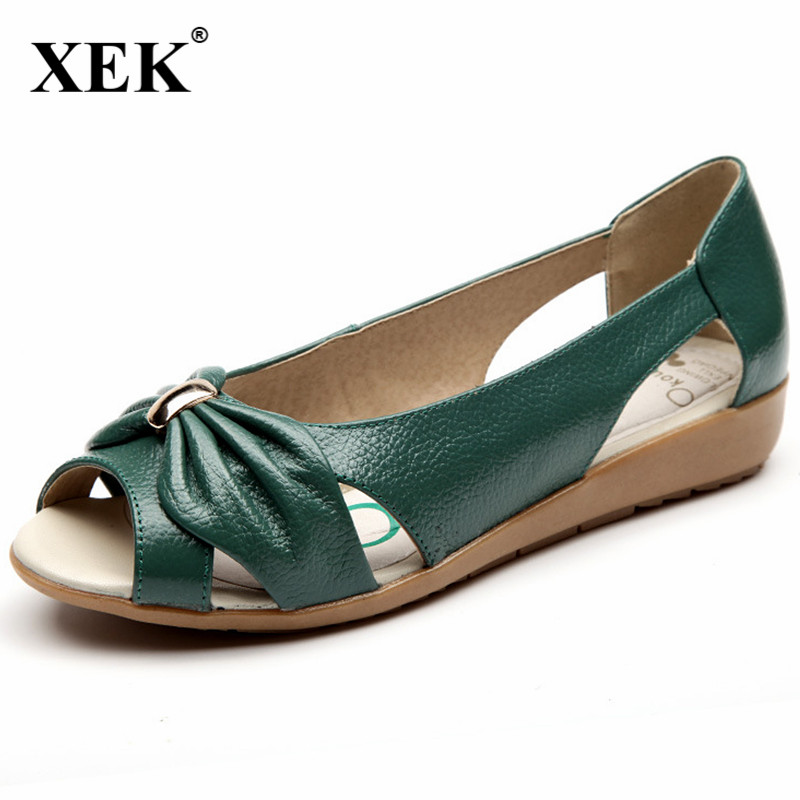 Women Genuine Leather Flats Open Toe Casual Female Shoes Breathable Summer Sandals Shoes Women Hollow Out Shoes Plus Size JDD89