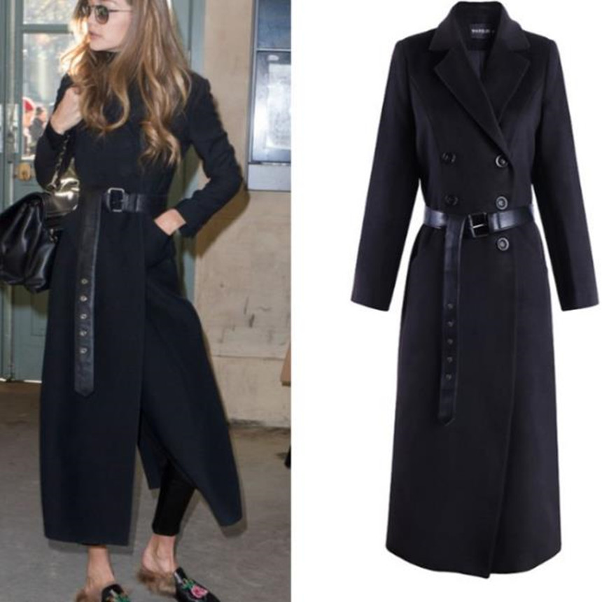 2018 winter Women Black Elegant Wool Woolen Coats double breasted Long Sleeve slim wool blends warm coat