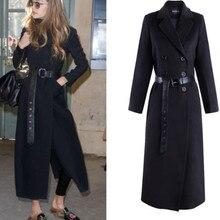 2020 winter Women Black Elegant Wool Woolen Coats double breasted Long Sleeve sl