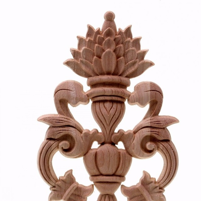 Solid wood European Style Woodcarving Decal Home Furniture Carved Applique Window Door Decor Wooden Figurines Crafts 3
