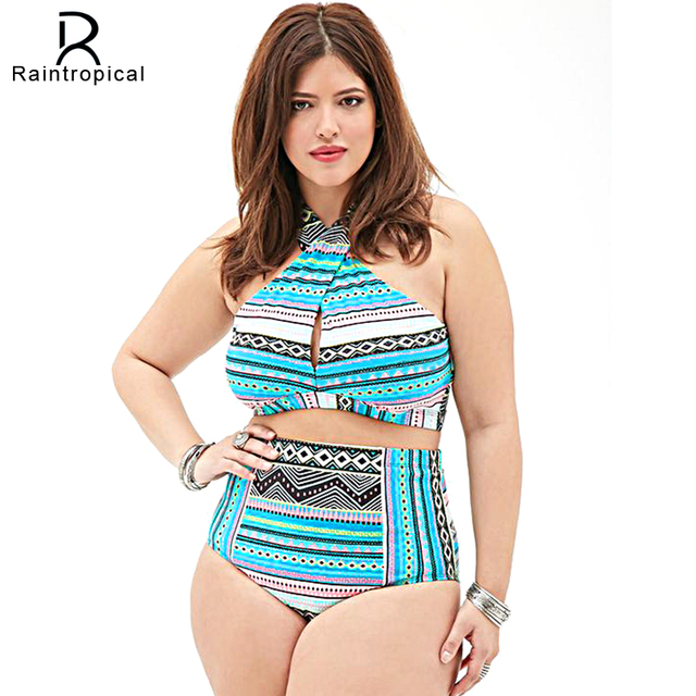 f0269facb15 Plus Size Swimwear High Waist Swimsuit High Neck Bikini 2019 Cross Bikinis  Women Swimsuit Top Bathing