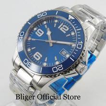 цена BLIGER Fashion 40mm Men's Watch Sapphire Glass Automatic Movement Date Window Blue Dial Ceremic Bezel онлайн в 2017 году