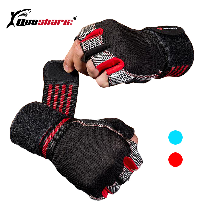 Hand Wrap Wristband Sport Gloves Half Finger Breathable Weightlifting Fitness Gloves Dumbbell Men Women Body Building Gym Gloves