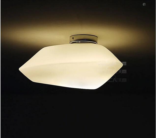creative milk white glass LED ceiling lamp hand made stone shape G9/E27 ceiling light for children's room bathroom decor 1841
