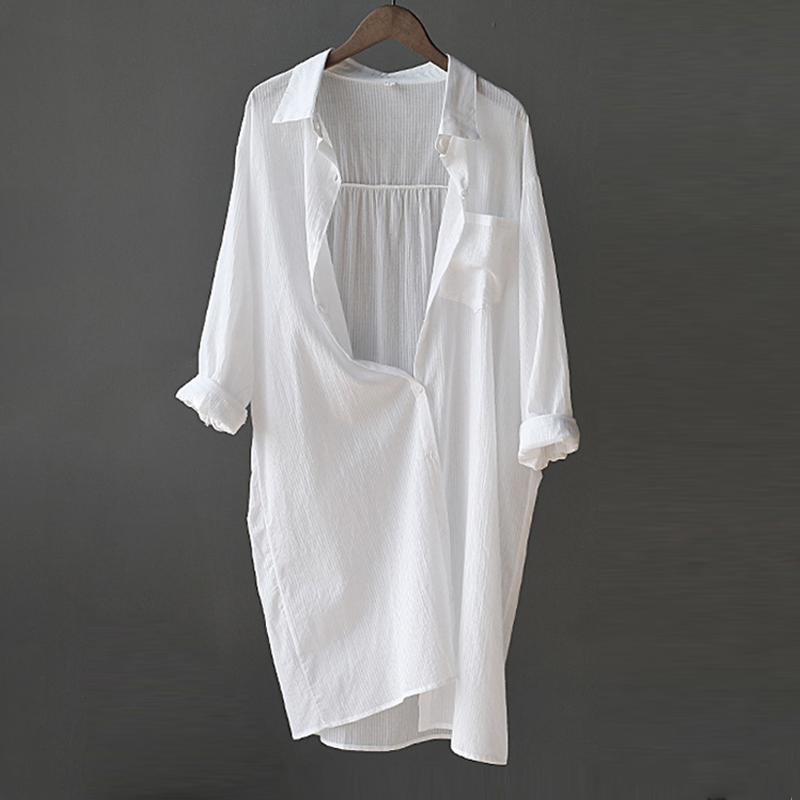 Spring Autumn White Womens Shirt Long Sleeve Button Pocket Office Lady Loose Women Shirts 2020 Summer Single Breasted Woman Tops