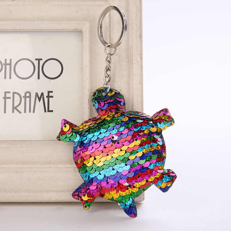 Llavero lindo gato/tortuga brillo pompón lentejuelas llavero regalos para mujeres llaveros mujer bolso de coche accesorios llavero pompón N35