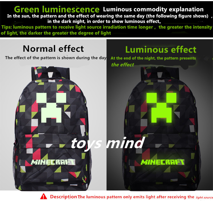 2017 Newest Royal Oxford Minecraft Glowing School Bag model minecraft creeper backpack for unisex GAME Birthday gift kids2017 Newest Royal Oxford Minecraft Glowing School Bag model minecraft creeper backpack for unisex GAME Birthday gift kids