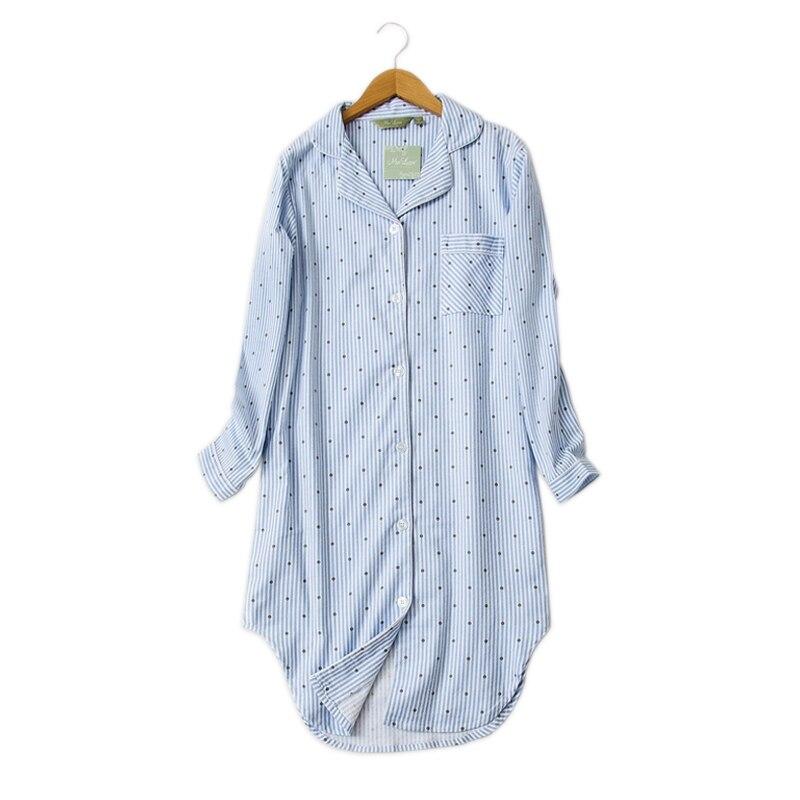 Winter casual night dress women nightwear Polka Dot nightgowns sleepshirts 100% brushed cotton fresh PLUS size Women sleepwear