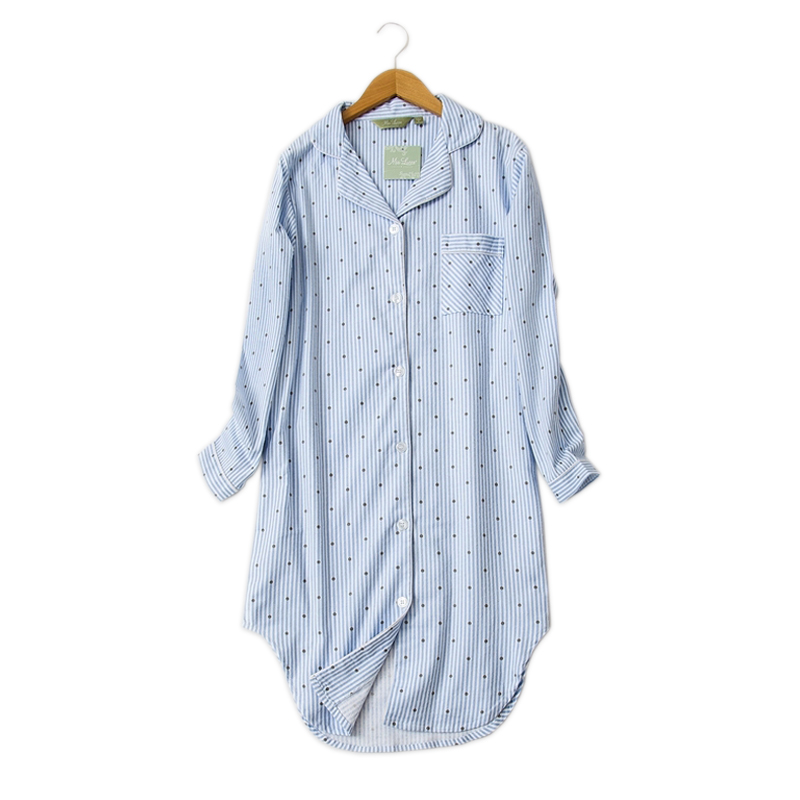 Winter casual night dress women nightwear Polka Dot nightgowns sleepshirts 100% brushed cotton fresh simple Sexy sleepwear Women