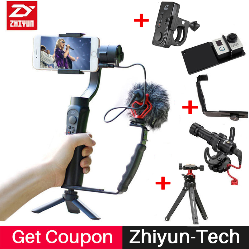 Zhiyun Smooth Q 3-Axis Gimbal Stabilizer with Boya BY-MM1 microphone Kit Vlogging following shoot for iPhone 8 Gopro Hero SJCAM