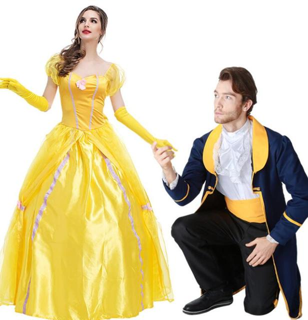 Beauty And The Beast Cosplay Costume Set Couple Costumes Princess Belle Dress Prince Halloween Outfit