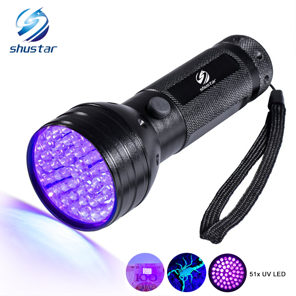 Uv Led Flashlight 51 Leds 395nm Ultra Violet Torch Light Lamp Blacklight Detector for Dog Urine Pet Stains and Bed Bug tactical ultraviolet flashlight detector 365 nm led uv lanternas sk98 purple light cree xml q5 violet torch lamp by aa 14500