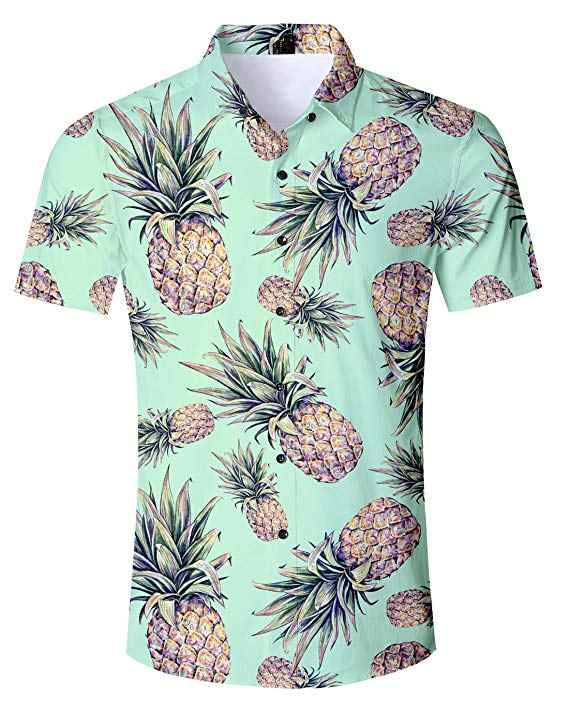 3a8d87ad ... Pineapple Hawaiian Shirts+Shorts Men's Summer 2PCS Sets 3D Swim Trunk Shorts  Shirt Camisa Masculina ...