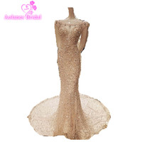 Robe De Soiree Real Photos Tulle Crystals Sequined Beaded Prom Dresses Gray Color Party Occasion Formal