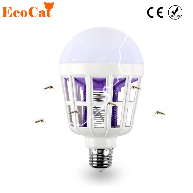 ECO Cat LED Mosquito Killer Lamp Bulb 220V 15W Light UV Trap Electric Shock 240V Insect Wasp Pest Fly Outdoor Indoor Kitchen e27 15w 2u uv curing light sterilization disinfection mosquito killer light bulb 220v