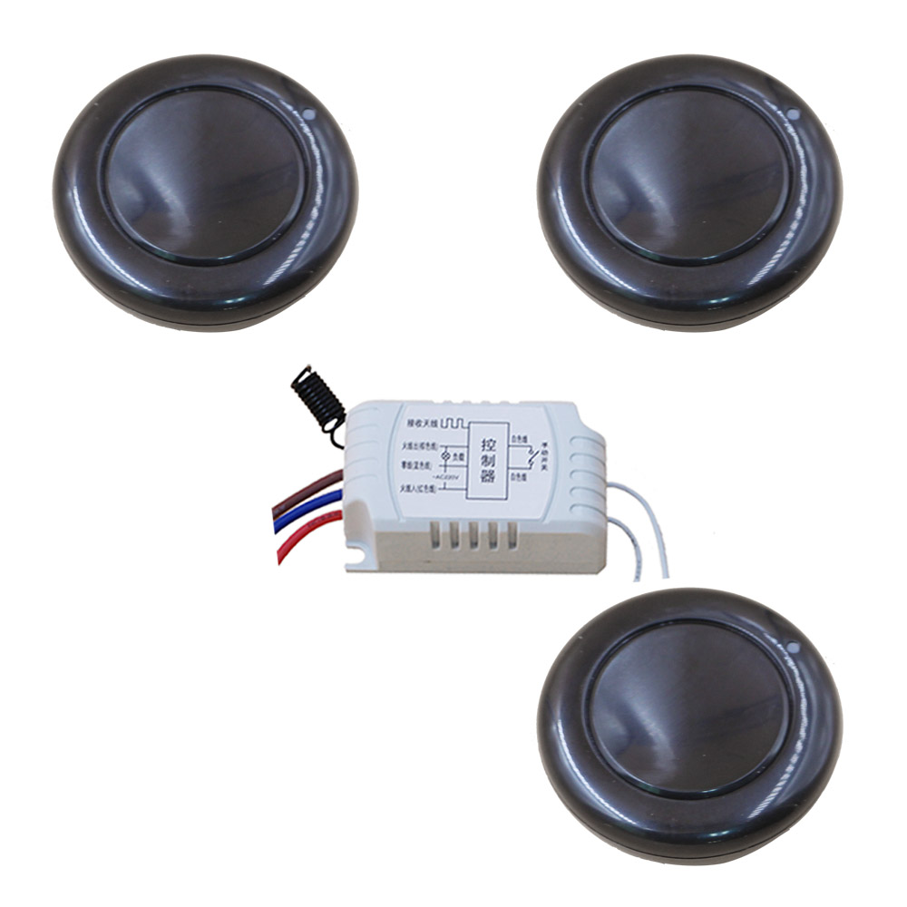 New 315/433mhz AC220V 1CH Wireless Remote Control Switch System 3Transmitter Round & 1Receiver Relay Learning Code Free Shipping