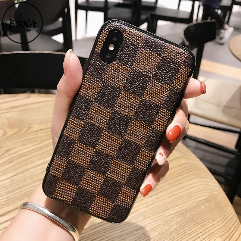 BUNA Phone Cases for Iphone X 7 8 Plus Vintage Luxury TPU Silicon Fashion Square Lattice for IPhone 6 6S Soft Back Cover