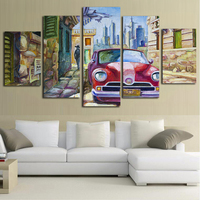 Vintage Car Canvas Painting Poster and Prints Wall Picture for Living Room Wall Art Poster 5 Piece Canvas Art Oil Painting Styl