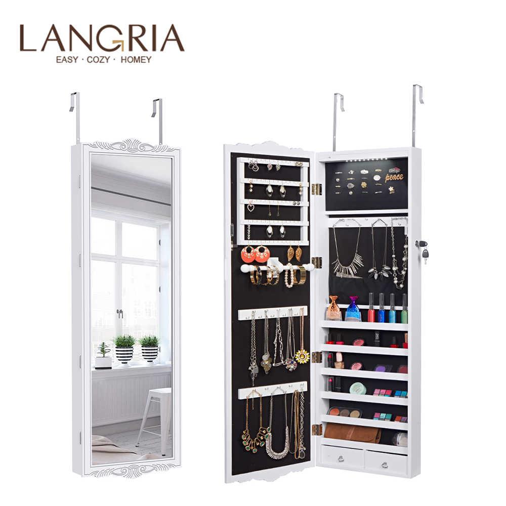 Armario de joyería colgante de puerta sobre la pared con cerradura de longitud completa LANGRIA con luces LED ajustable 3 Heights