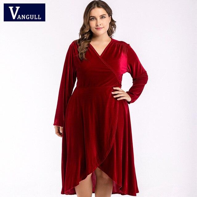Vangull Vintage Plus Size 4XL Jurk Vrouwen Velours Big Cross Stijl Boog Mid kalf Lengte Dames Elegante jurken 2019 Nieuwe