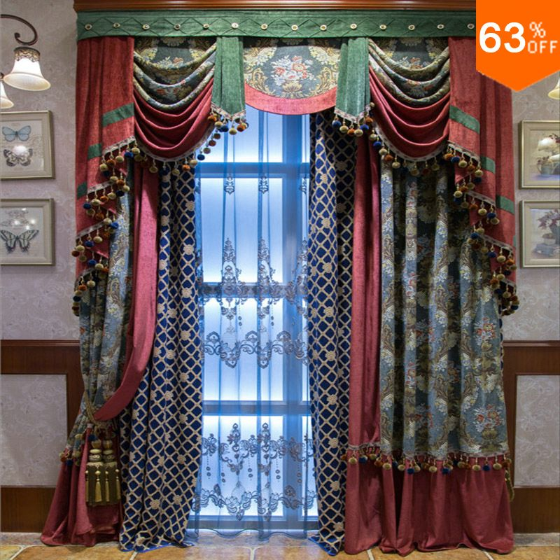 Pearl blue with green patchwork red curtains for hotel for Hotel drapes for sale